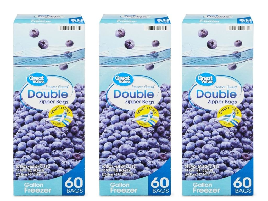 3 boxes of Great Value Double Zipper Freezer Bags