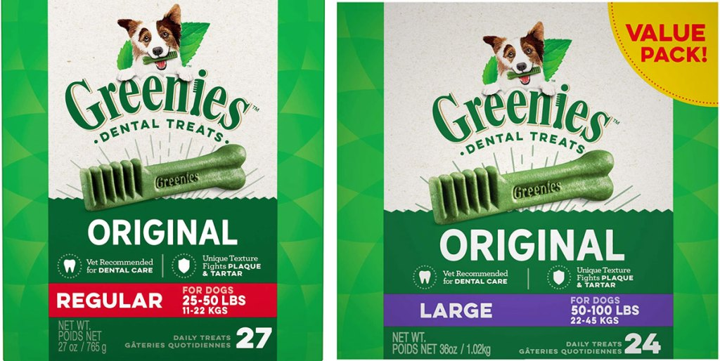 two boxes of greenies dental dog treats in regular and large sizes