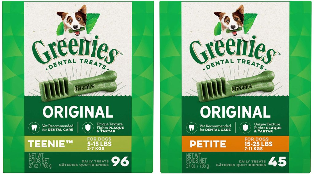 two boxes of greenies dental dog treats in tennie and petite sizes