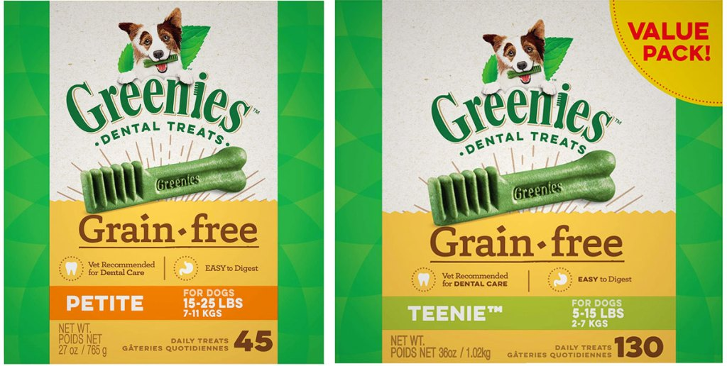 two boxes of greenies grain-free dental dog treats
