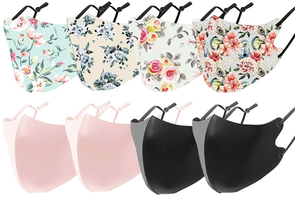 8-pack set of reusable face masks in floral prints and solid pink and black colors