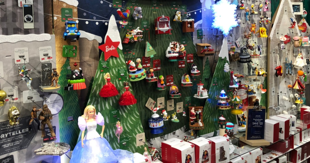 christmas ornament wall in store at hallmark