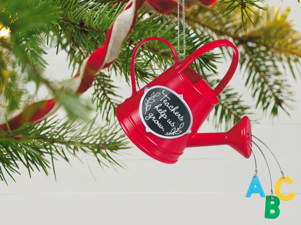 red watering can christmas ornament