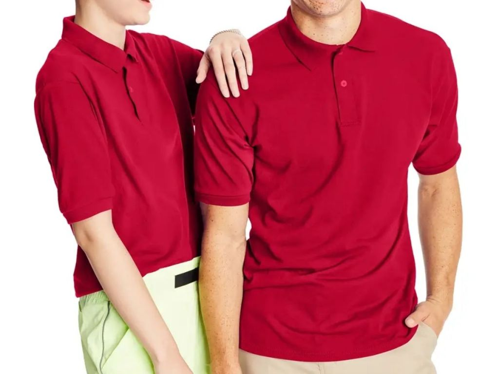 guy and girl in Hanes Polo