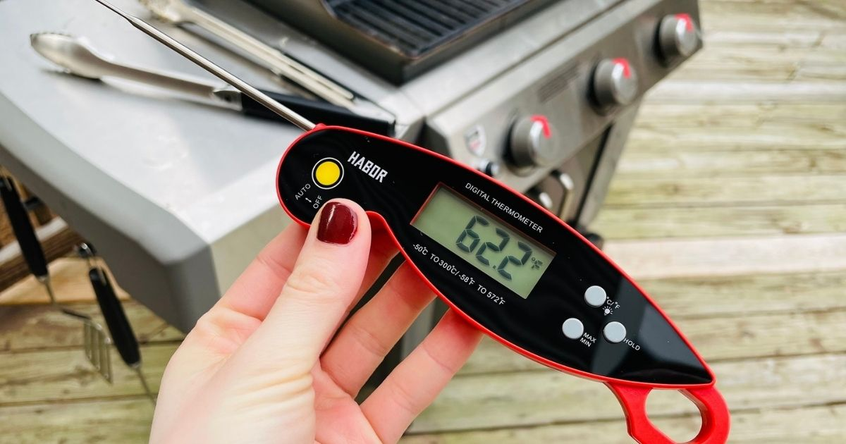 woman holding a food thermometer