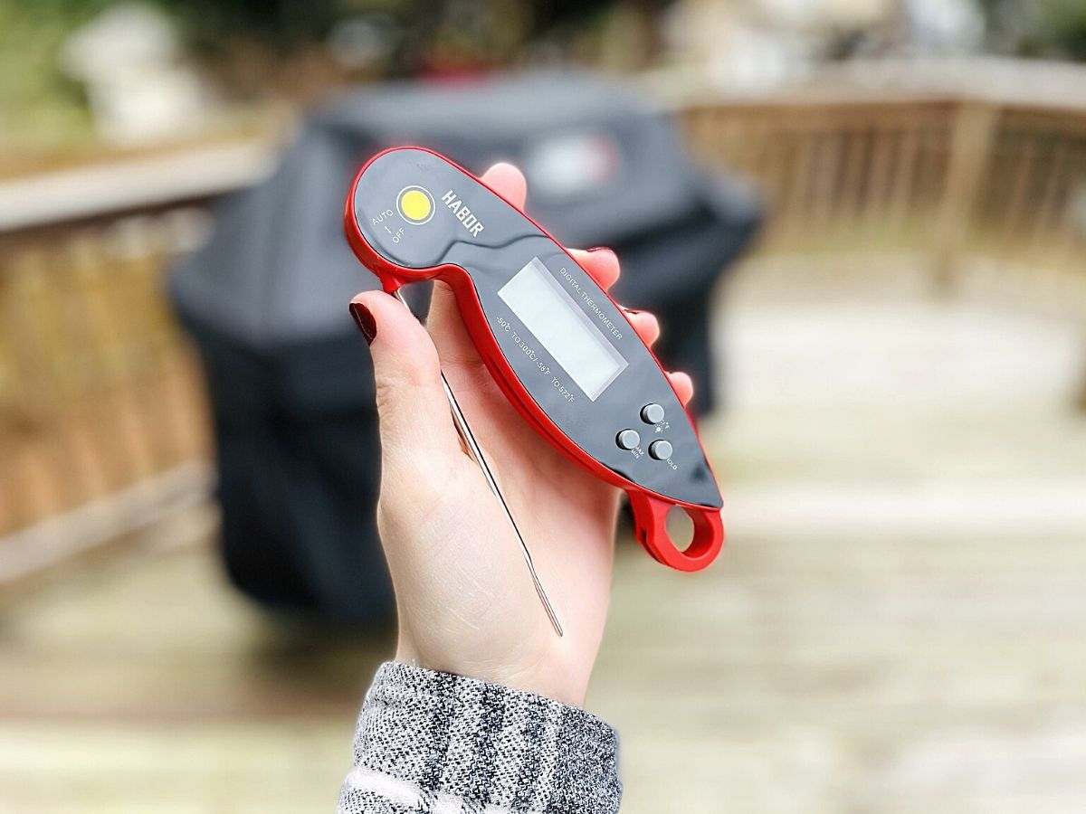 woman holding meat thermometer in front of covered grill