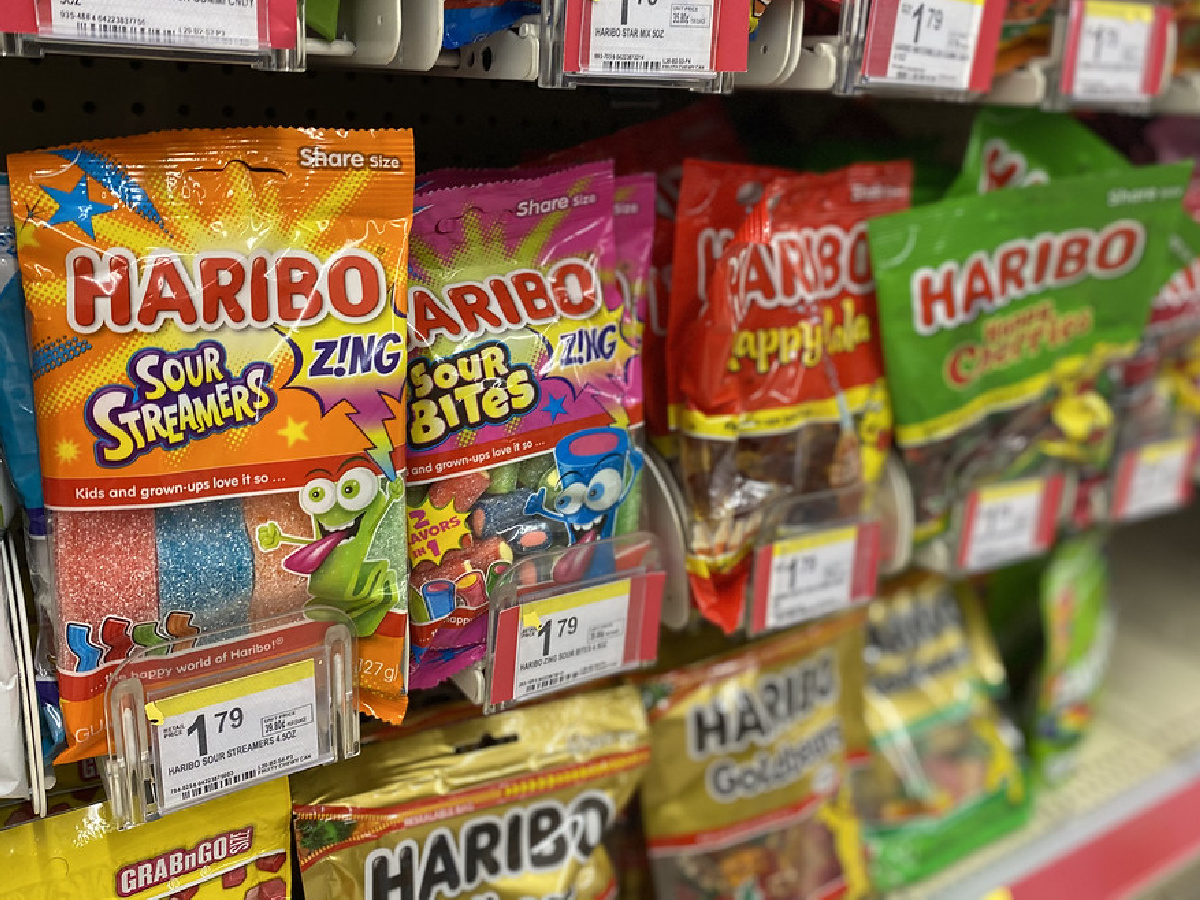bags of gummi candies on store shelf