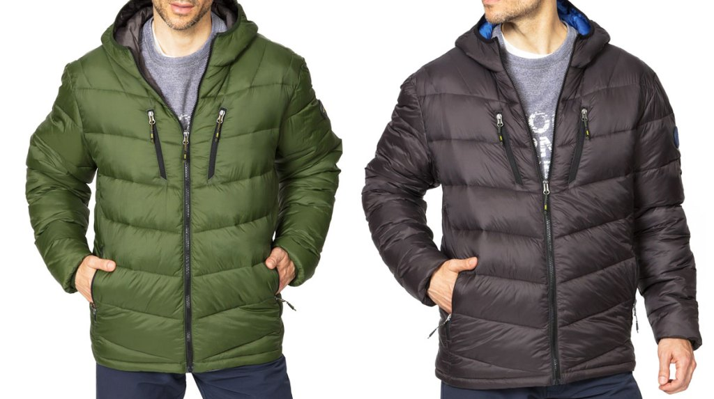 two men modeling puffer jackets in olive green and black colors