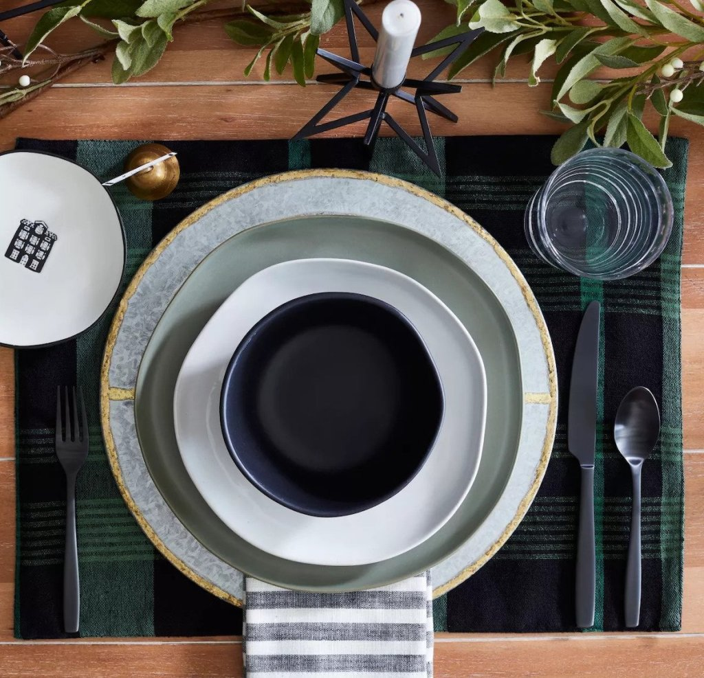 table setting with Hearth & Hand with Magnolia Galvanized Metal Plate Charger with Gold Welding