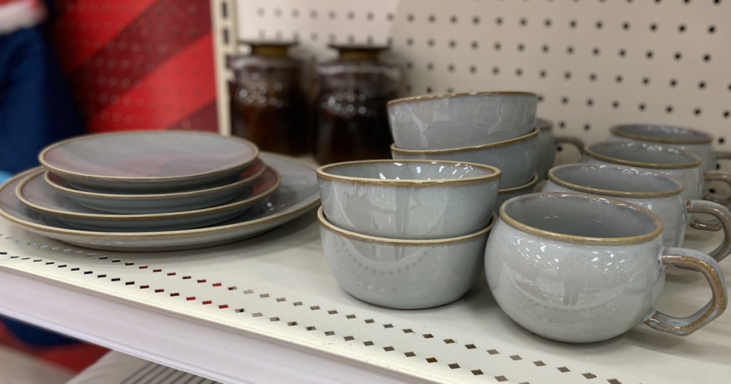 target shelf with Hearth-and-Hand-with-Magnolia blue and gold bowls and plates