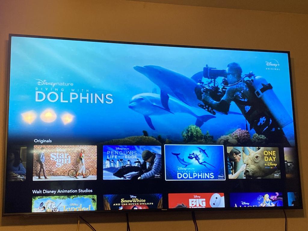 smart TV with Disney+ app open