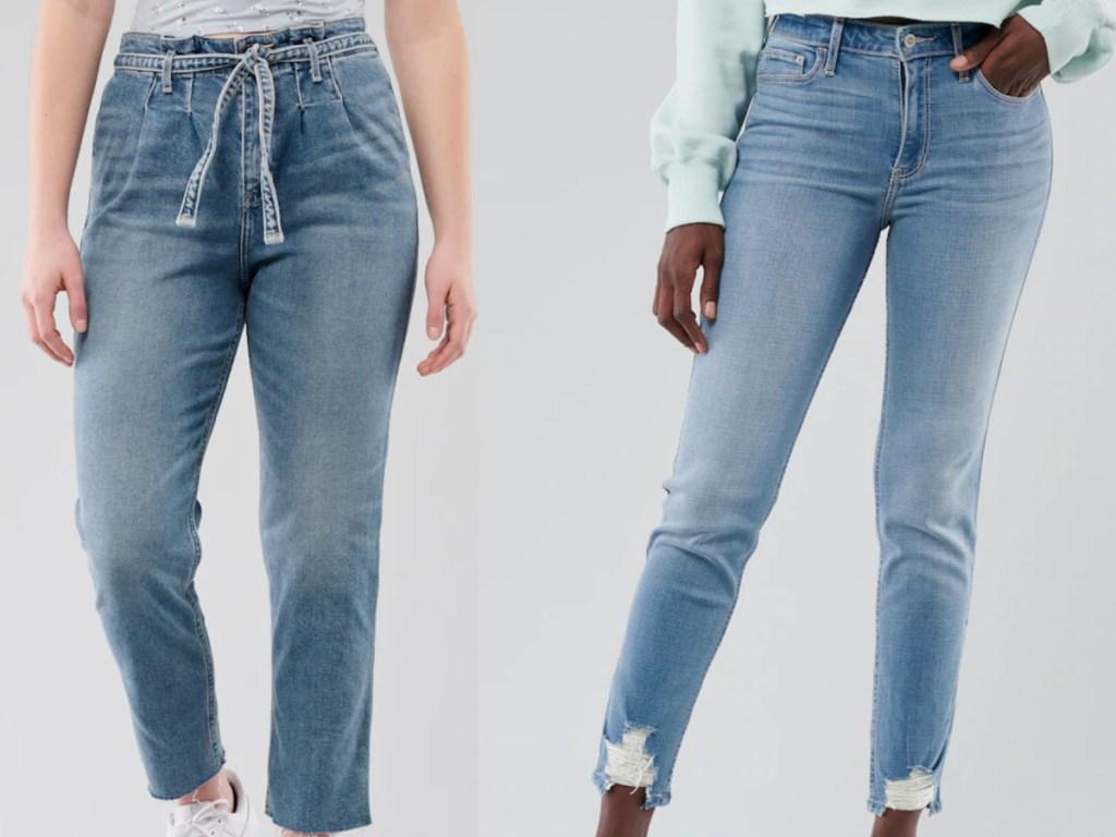 2 girls wearing hollister jeans