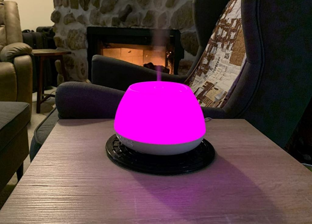 essential oil diffuser lit up pink