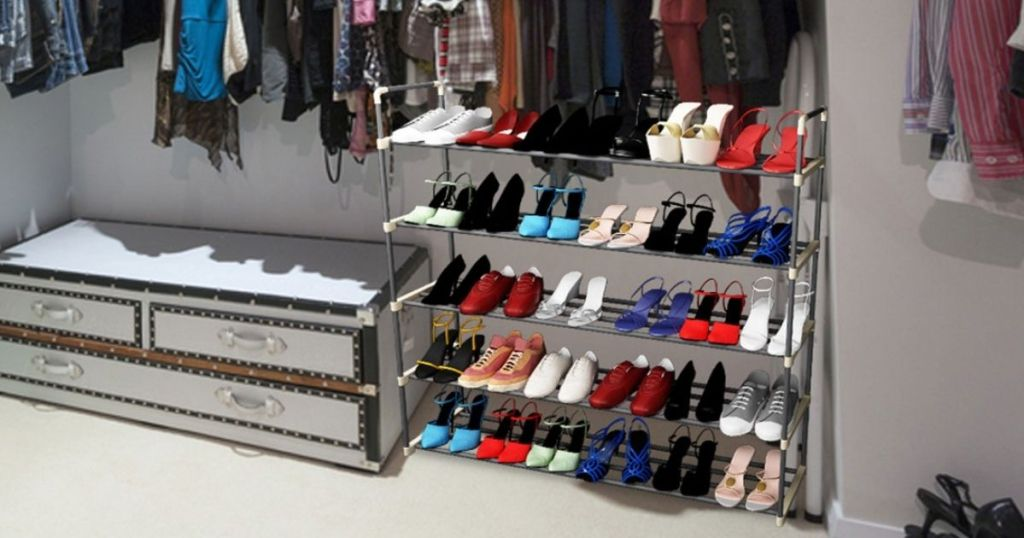 closet with shoe rack and chest