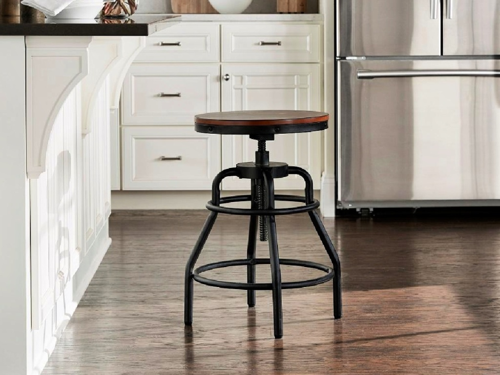 Home Decorator's Collection Industrial Mansard Adjustable Height Black Bar Stool