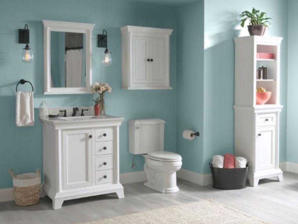 Vanity and toilet in bathroom