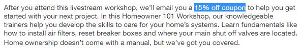 Home Depot Workshop Coupon screenshot