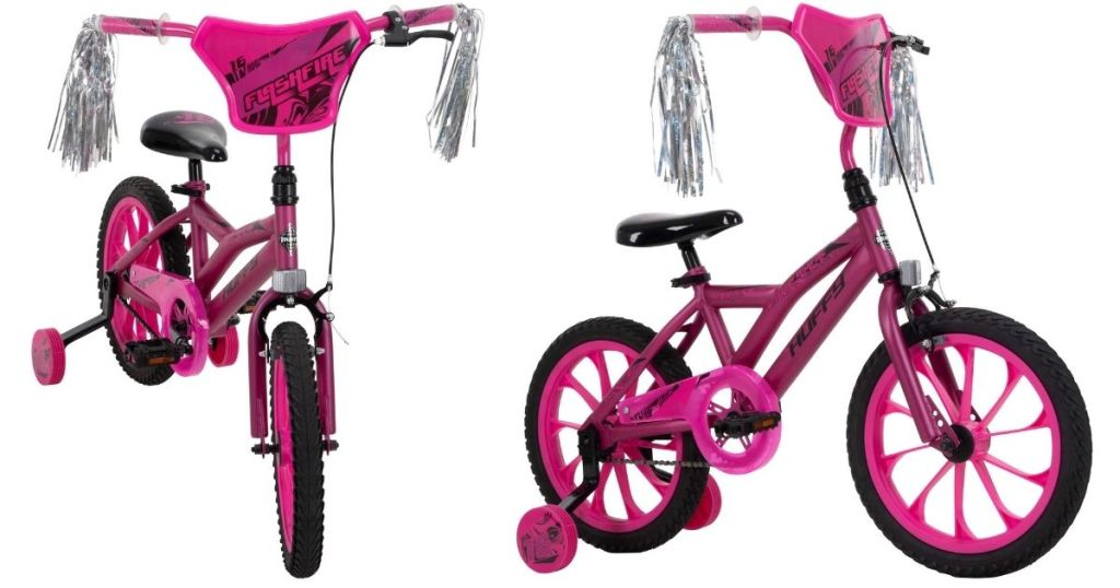 2 views of pink Huffy Flashfire Bike