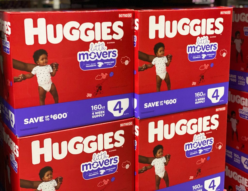red and purple boxes of huggies little movers diapers at sam's club