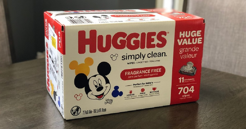 box of mickey mouse huggies simply clean wipes on a grey table