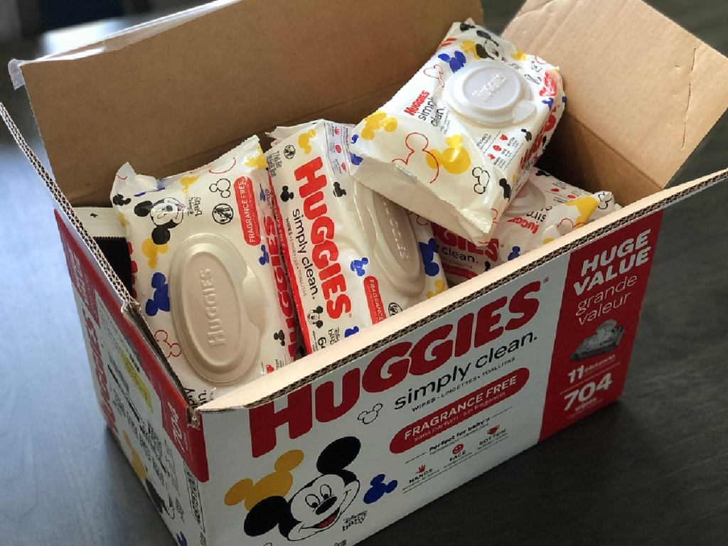 packs of Huggies wipes in a large box