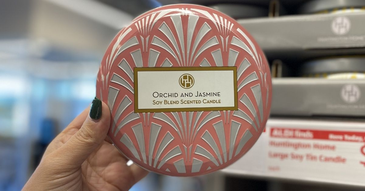 orchid and jasmine Huntington Home Soy Blend Scented Candle
