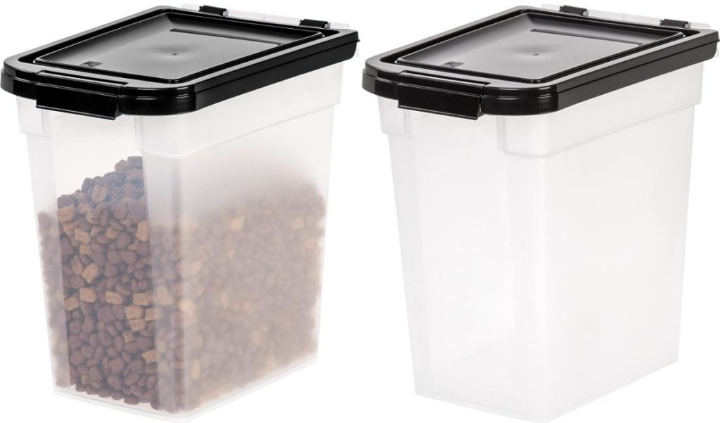 storage container filled with dog food and empty storage container