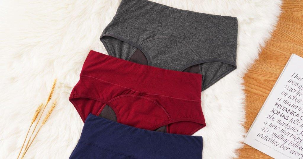 three pairs of high-waisted women's underwear