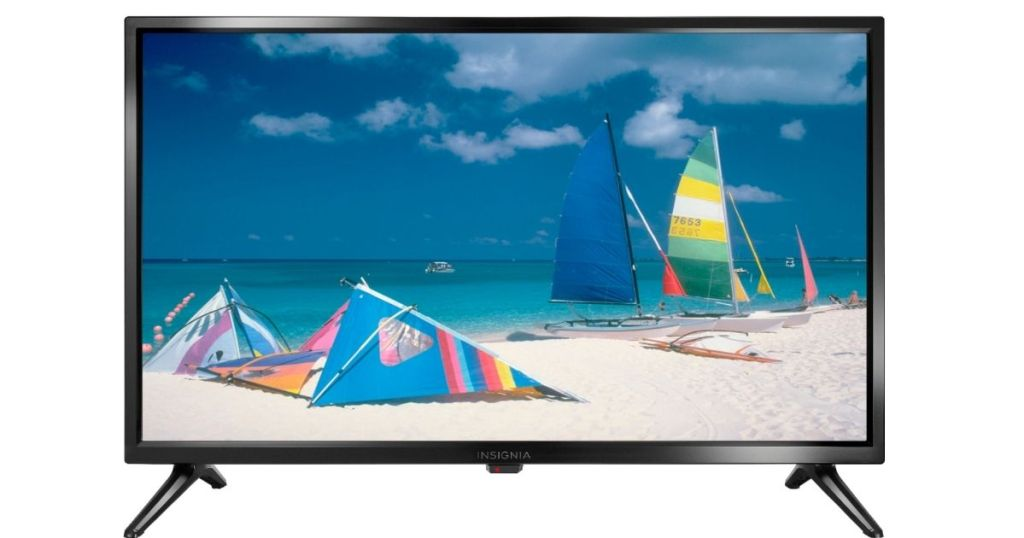 stock image of a television with a beach and sailboats on the screen