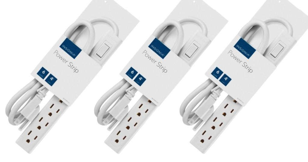 3 views of Insignia 6-Outlet Power Strip in packaging
