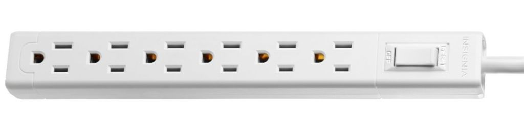 white Insignia 6-outlet Power Strip