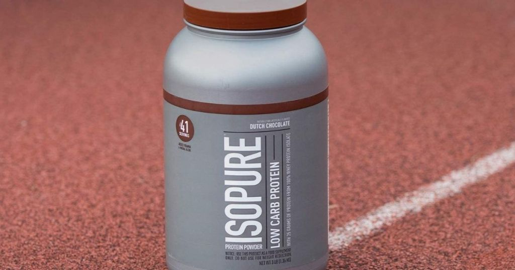 container of Isopure Protein Powder