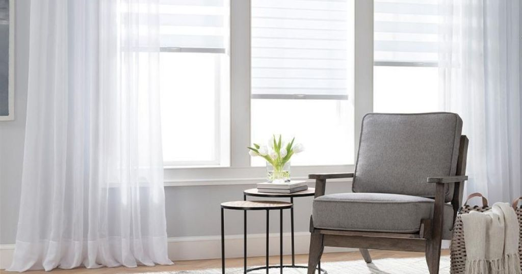 room with chair and JCP Window Treatments