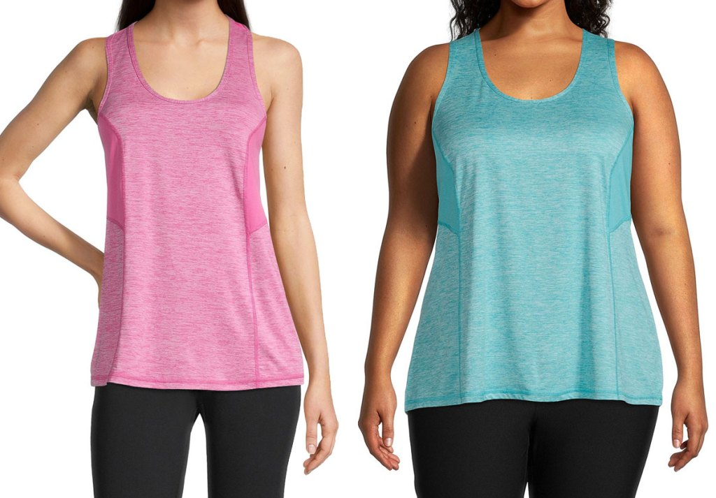 two women modeling activewear tank tops in pink and blue colors