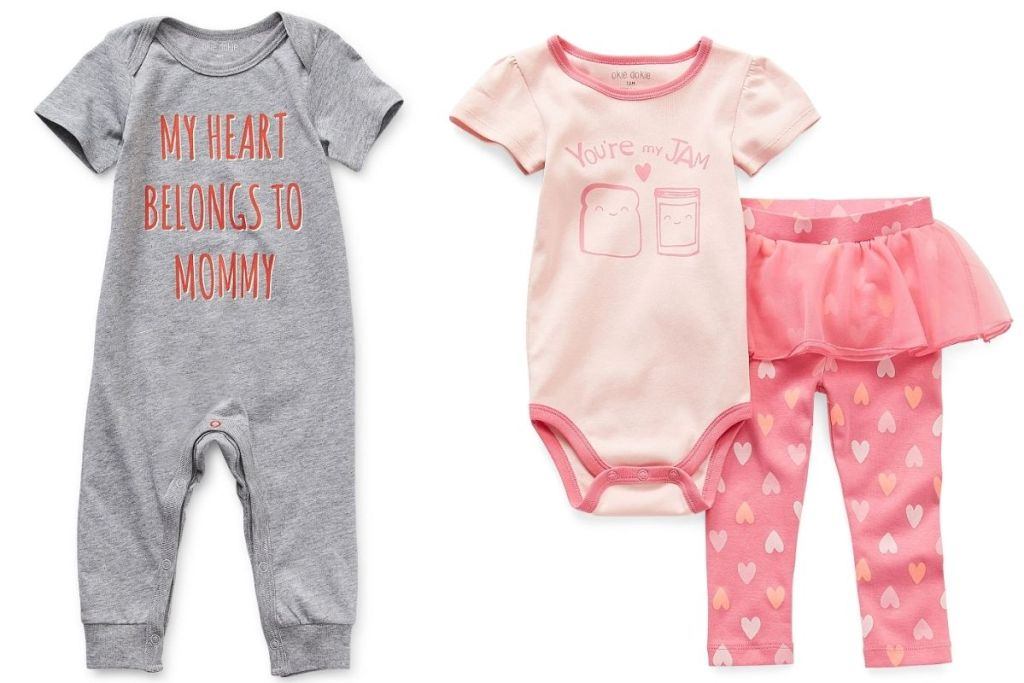 2 JCPenney Okie Dokie Valentine's Baby Outfits