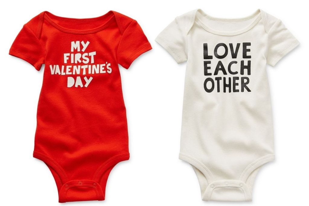 red and white JCPenney Okie Dokie Valentine's Day Baby Onsies