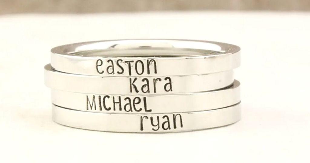 skinny silver personalized bracelets