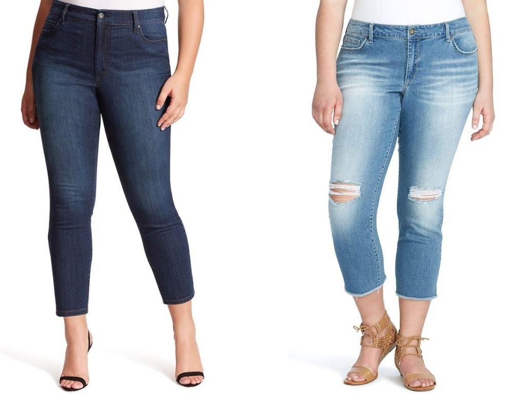 women wearing crop jeans