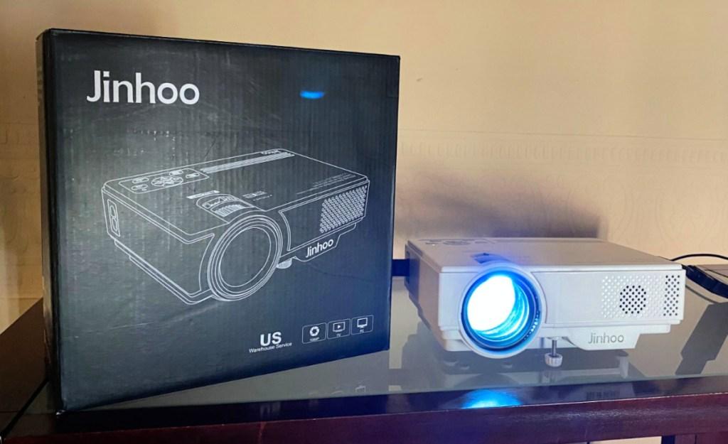 "Jinhoo 1080p Mini Projector with 100"" Screen"