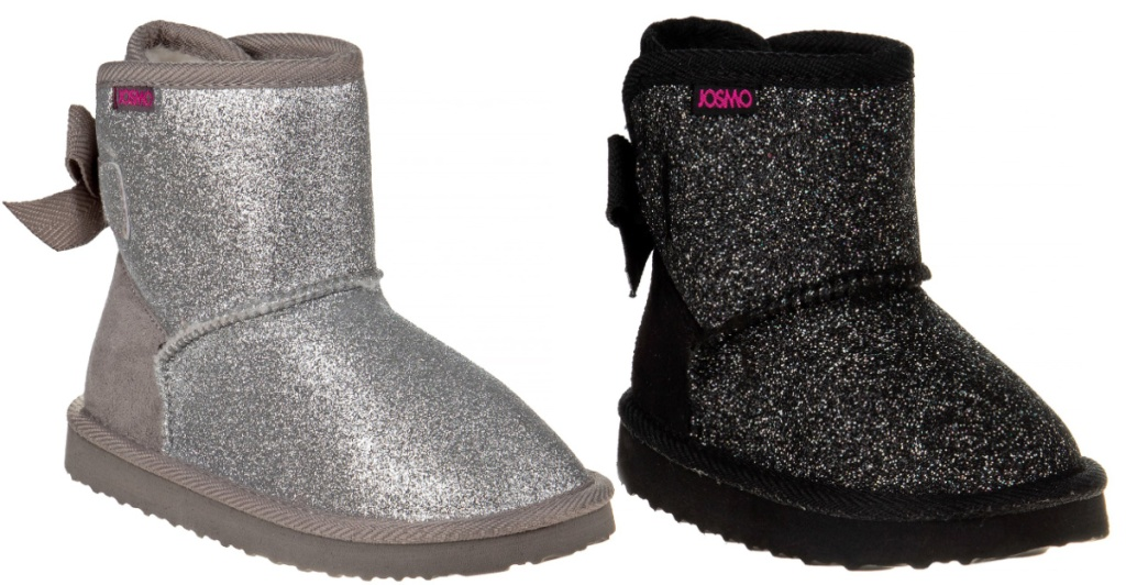 Josmo Glitter & Bows Faux Shearling Ankle Boots