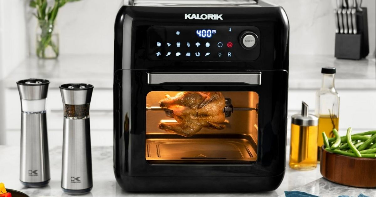 Kalorik 10qt Air Fryer Oven on kitchen counter with spices and food