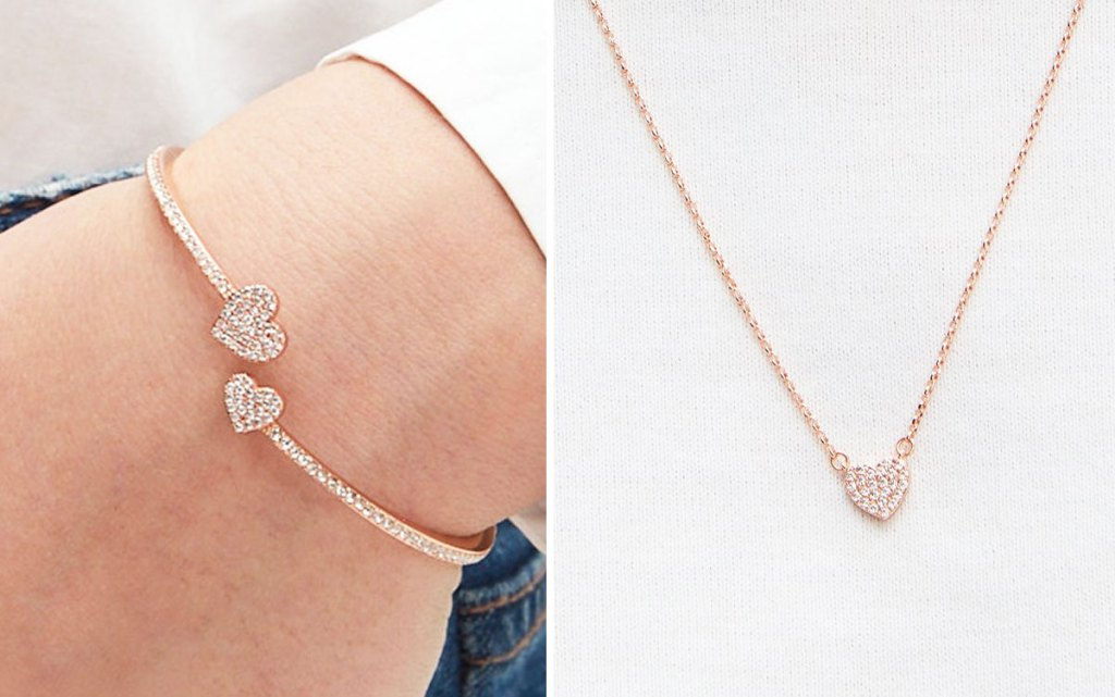 kate spade pave heart cuff bracelet and matching necklace