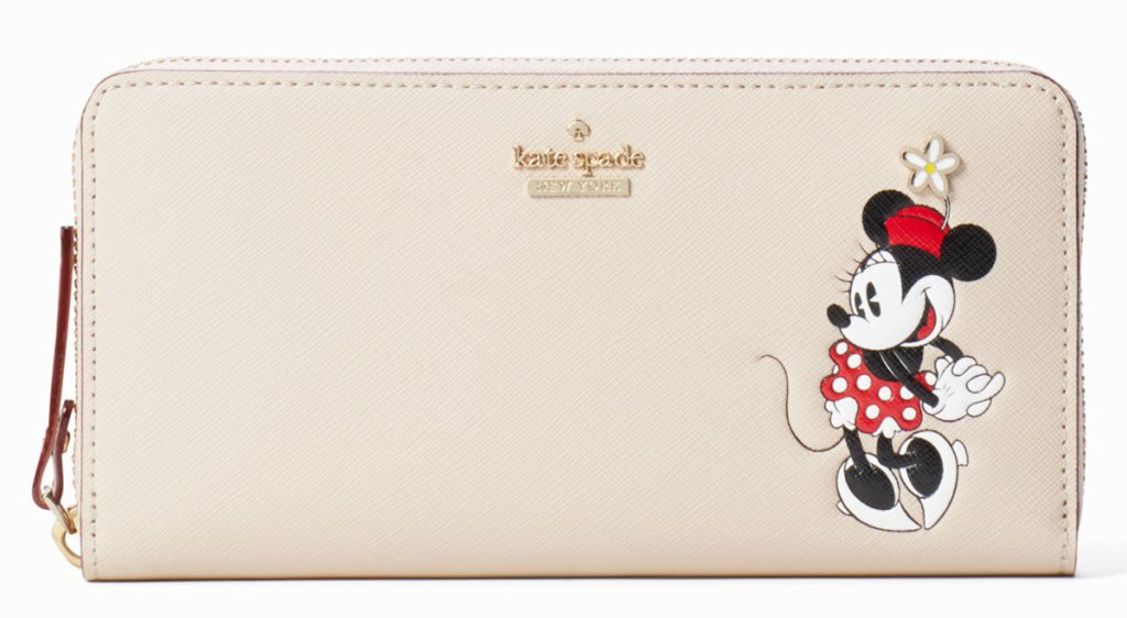 beige colored kate spade zip-around wallet with minnie mouse on it