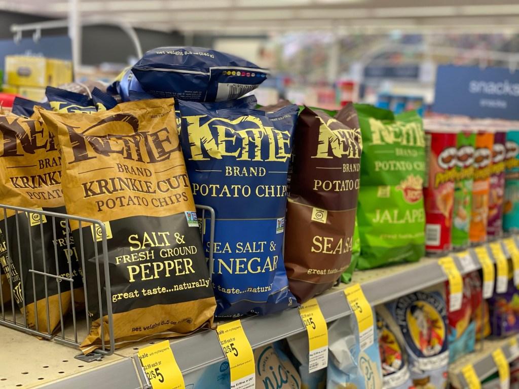 Kettle Brand chips on store shelf