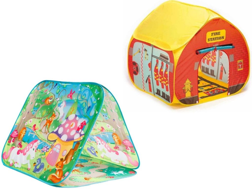 two kids play tents