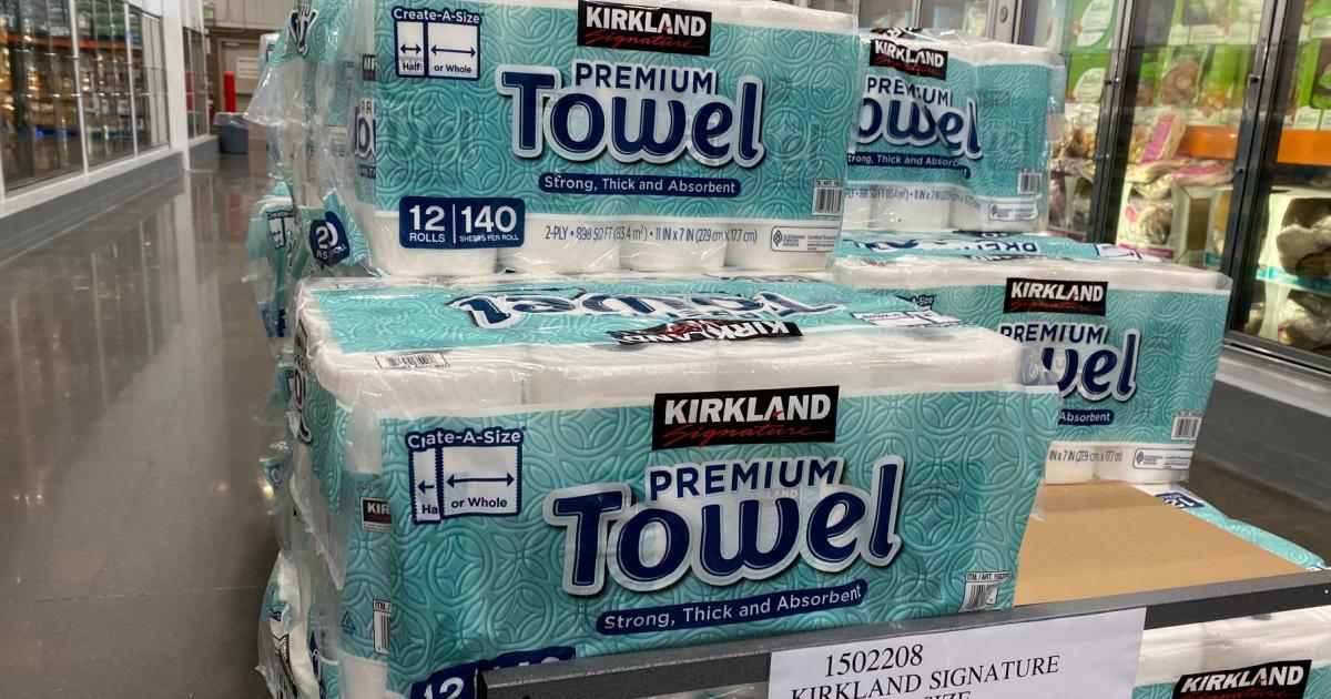 packages of kirkland brand paper towels on display in costco