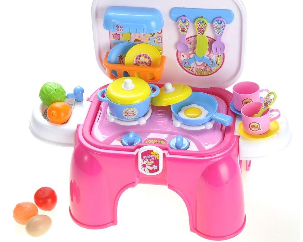 open Kitchen Connection Toy Kitchen/Stepstool with utensils