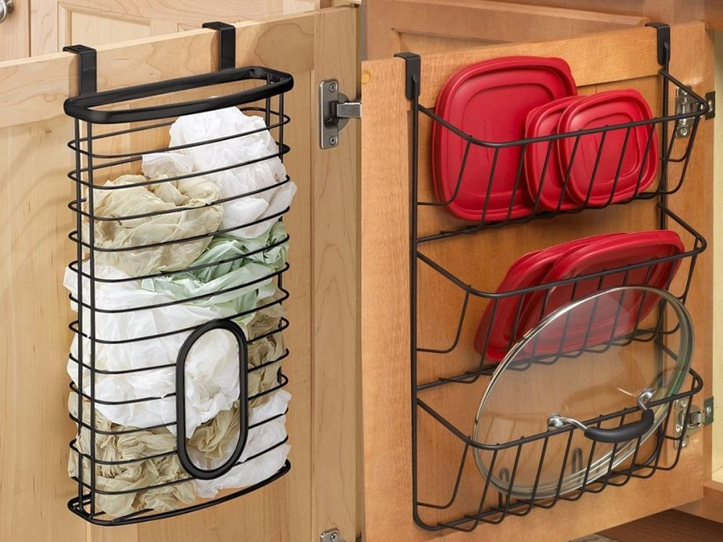 Kitchen organization for plastic bags and lids