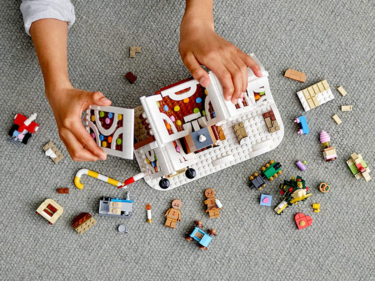 Birds-eye view of a LEGO gingerbread house being built
