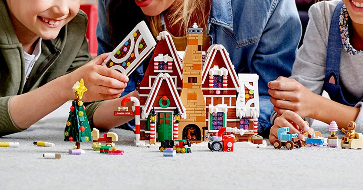 Kids playing with a Gingerbread themed building set